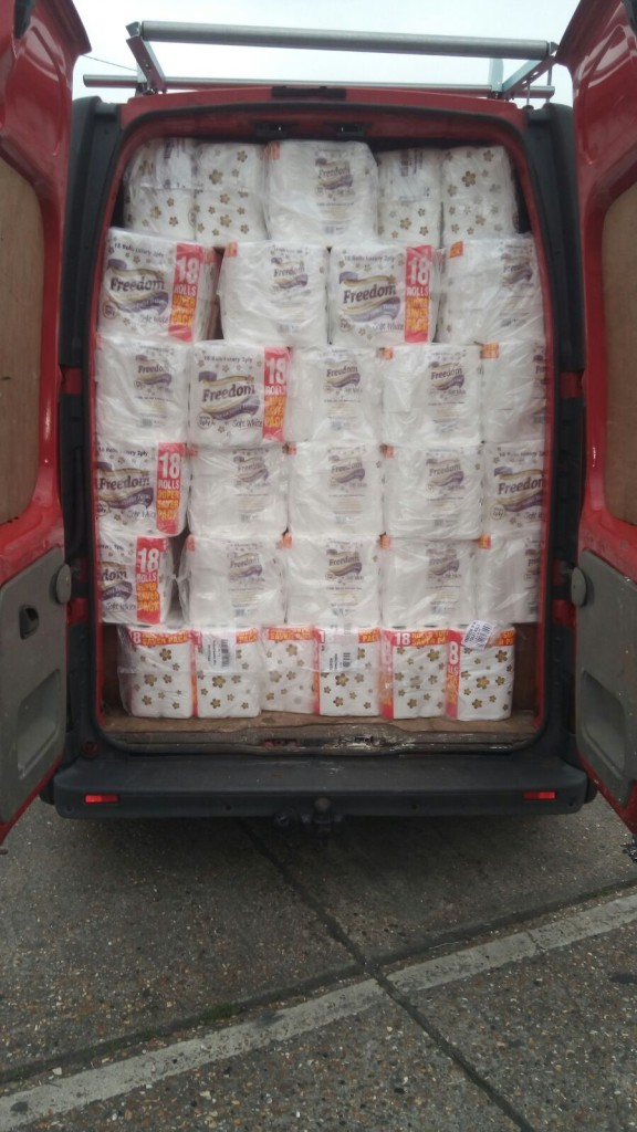 A van full of loo roll!